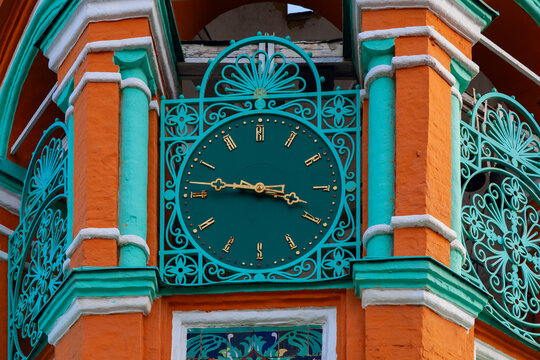 Antique tower clock on the bell tower of the Church of St. Gregory of Neocaesarea in Moscow