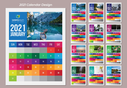 Colorful Wall Calendar 2021