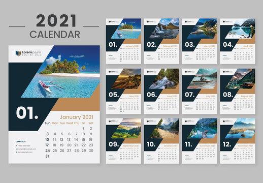 Creative Wall Calendar 2021  Happy New Year