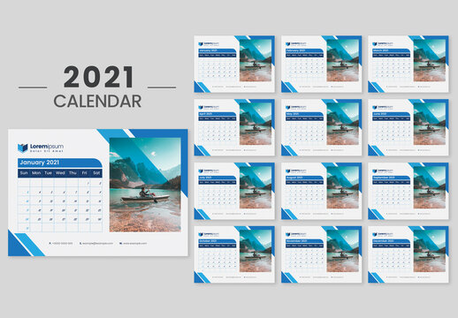New Year Desk Calendar 2021 with Blue Accents