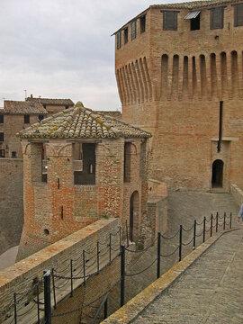 Italy, Marche, Mondavio, parts of the Rocca Roveresca or Rocca di Moldavio.
