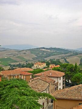 Italy, Marche, Mondavio, city view and Apennine landscape from  the Rocca Roveresca.