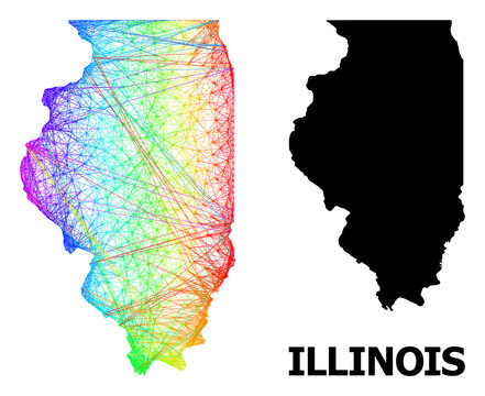 Net and solid map of Illinois State. Vector structure is created from map of Illinois State with intersected random lines, and has bright spectral gradient.