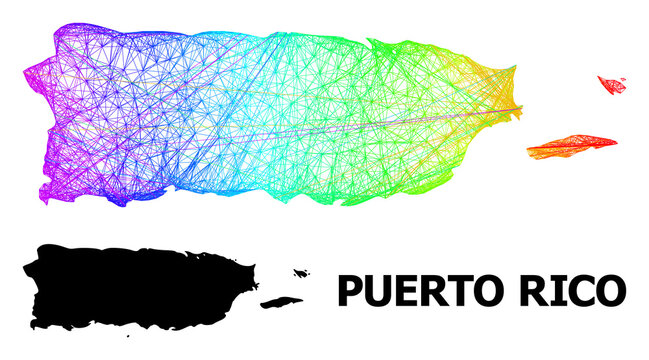 Wire frame and solid map of Puerto Rico. Vector model is created from map of Puerto Rico with intersected random lines, and has spectral gradient. Abstract lines form map of Puerto Rico.