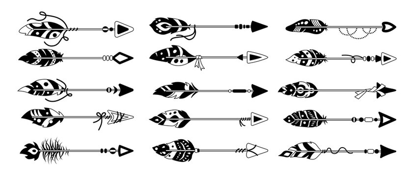 Boho arrow with feather black glyph set. Line ethnic bird feathers, hand drawn arrowhead. Tattoo hipster design collection. Bohemian style, indian, hipster, tribal symbols. Vector illustration