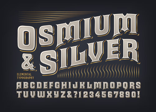 Osmium & Silver ornate font. This original alphabet has a classic Goth style with modern touches. Good for upscale branding, liquor, high fashion, personal products, etc.