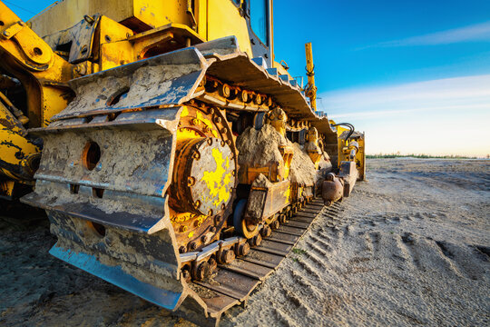Iron track of large tractor for driving on sand and mud.