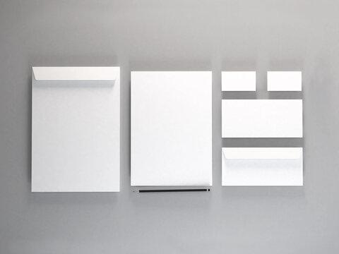 Realistic Stationery Set 3D Illustration Mockup Scene on White Background