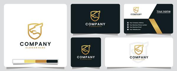 Fototapeta wolf shield ,golden , luxury, logo design inspiration