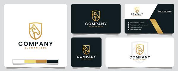 Fototapeta horse head ,golden ,shield , sport, logo design inspiration