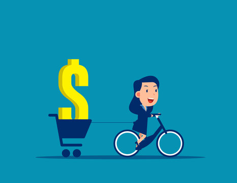 Person ride a bike carrying money concept