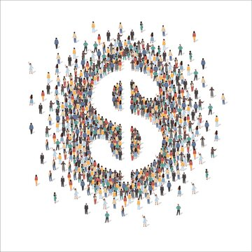 Large group of people forming US dollar sign standing together, flat vector illustration. People crowd gathering. Business, finance, banking symbol.
