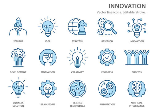 Innovation flat line icons. Vector illustration. Editable stroke.