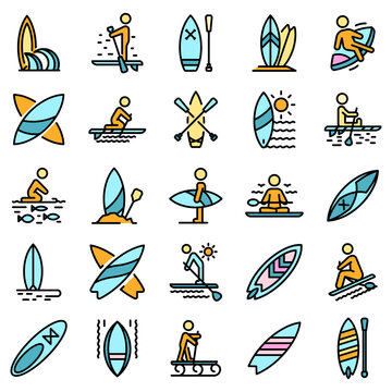 Sup surfing icons set. Outline set of sup surfing vector icons thin line color flat on white