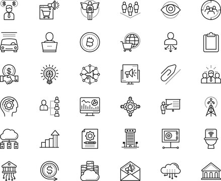 business vector icon set such as: cloudscape, watch, teacher, experience, targeting, travel, stock, volume, module, infographic, back, info, magnifier, secure, urban, attachment, worker, base
