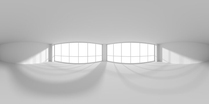Empty white business office room with sunlight from windows HDRI map