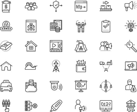 business vector icon set such as: http, supplies, precious, reserve, bubble, search engine optimization, road, movie, speed, machinery, icons, questionnaire, flowchart, start, worker, stay home
