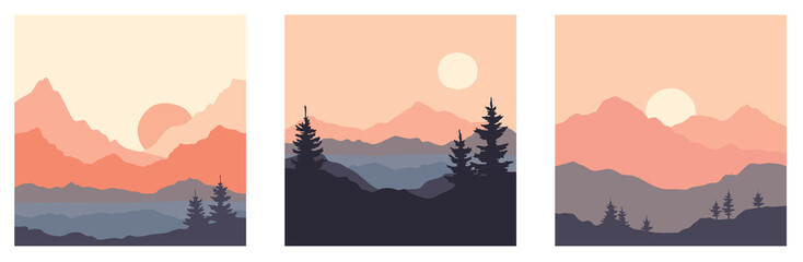 Abstract landscape with mountains and firs. Three vector illustrations. Twilight, sunset.
