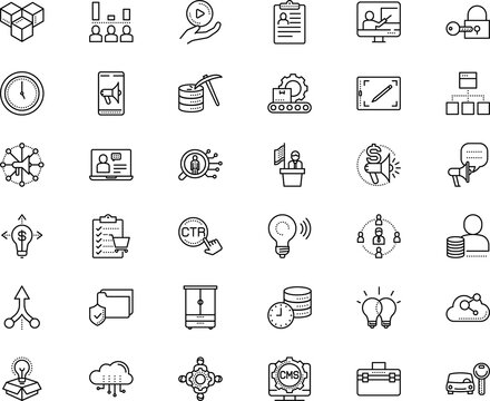 business vector icon set such as: plan, wi-fi, gadgets, opportunity, download, fund, wardrobe, together, advert, secure, warehouse, access, double, creativity, toolkit, bag, stock
