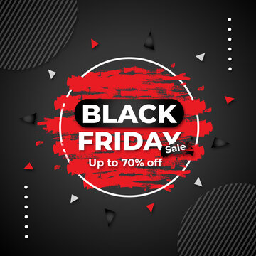 Black Friday sell banner with super discount vector template social media