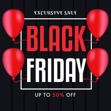 Black Friday sale banner with ballon vector template