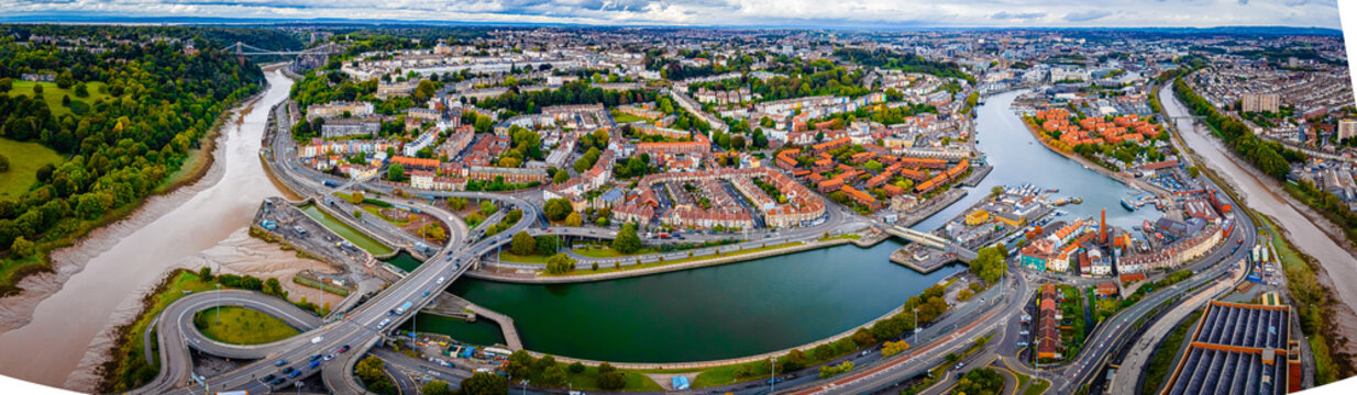 Aerial panorama of the city of Bristol