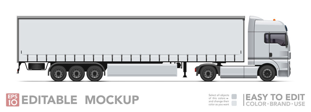 Editable semi truck mockup. Realistick tractor & tilt trailer on white background. Vector illustration