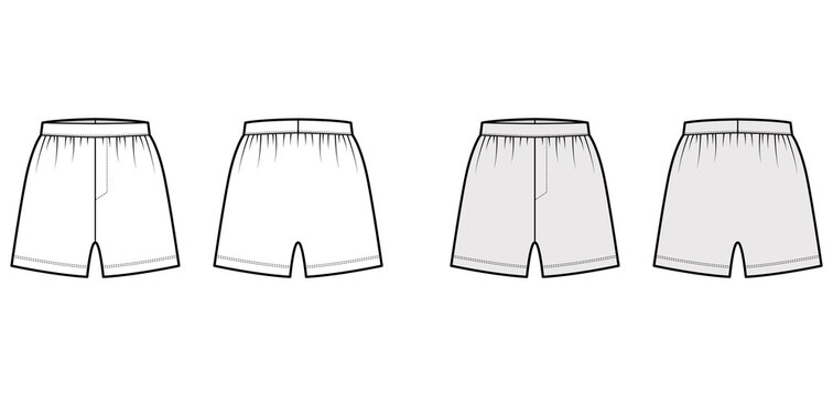 Boxer shorts underwear technical fashion illustration with loose silhouette, elastic band. Flat trunks Underpants lingerie template front, back, white, grey color. Women men unisex Kacchera CAD mockup
