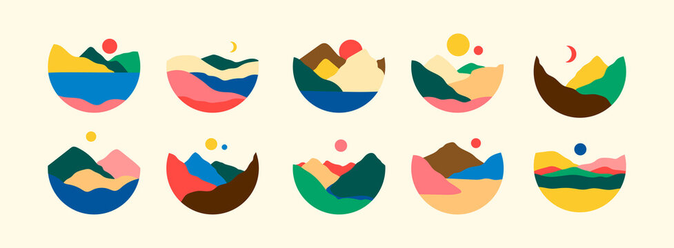 Mountains, river, sea view. Hills, sun, Moon. Round Icons. Flat Abstract design. Scandinavian style lanscapes. Big Set of hand drawn trendy Vector illustrations. Wallpaper Templates for stories