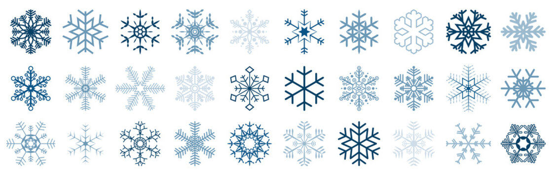 collection of different christmas snow flakes