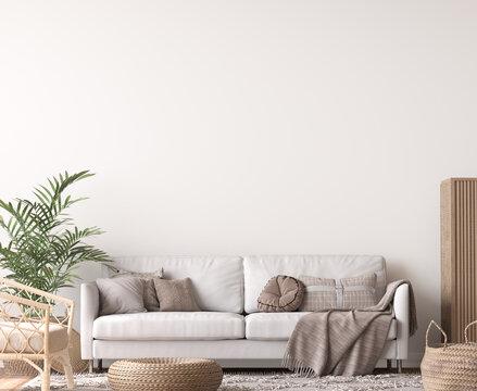 Wall mockup in living room design, White sofa in Scandinavian interior