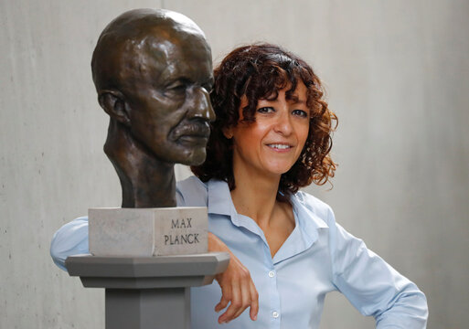 Scientist Emmanuelle Charpentier, director of the Max Planck Institute for Infection Biology in Berlin poses after winning the 2020 Nobel Prize in Chemistry for the development of a method for genome editing, in Berlin