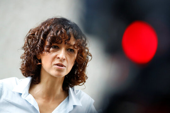 Scientist Emmanuelle Charpentier, director of the Max Planck Institute for Infection Biology in Berlin reacts after winning the 2020 Nobel Prize in Chemistry for the development of a method for genome editing, in Berlin