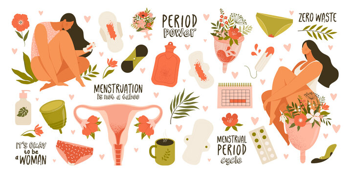 Set of menstruation, period, female uterus, reproductive system stickers. Zero waste objects. Women with flowers, panties, pads, cups, tampons, calendar, womb in cartoon vector illustration isolated.