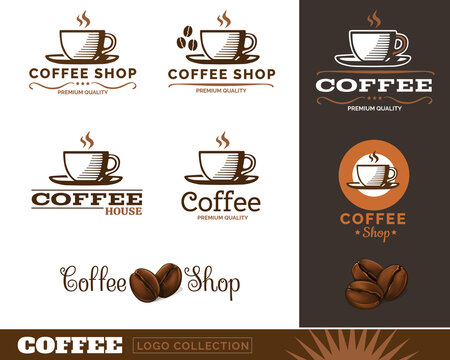 Vintage Coffee Cup and Coffee Beans Logos. Vector Illustration.