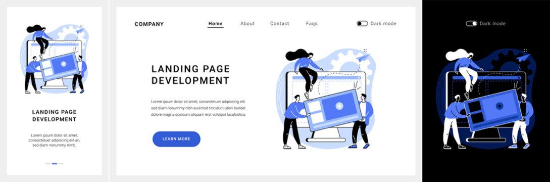 Landing page development website UI kit. Product landing page, website development, marketing service, company site element, menu bar design, portfolio landing and mobile app vector UI template.