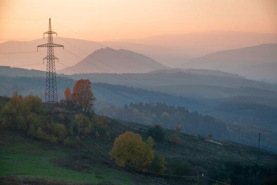 Sunset over power lines in the Caprathian Mountains, Ukraine