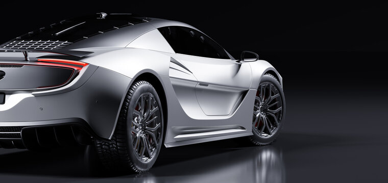 Rear view of modern fast sports car in studio light. Brandless generic contemporary design