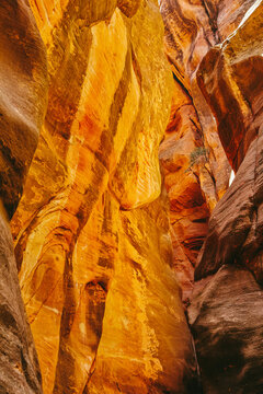 Landscape detail of slot canyons in Kanarra Falls, Utah.