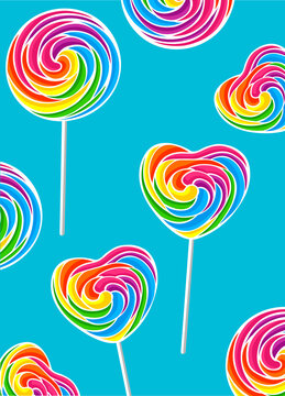 rainbow colored lollipops