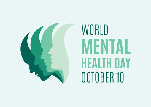 World Mental Health Day vector. Head of a man with mental illness vector. Man face with depression vector. People with depression icon. Sadness abstract vector. Mental Health Day Poster, October 10