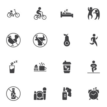 Healthy lifestyle vector icons set