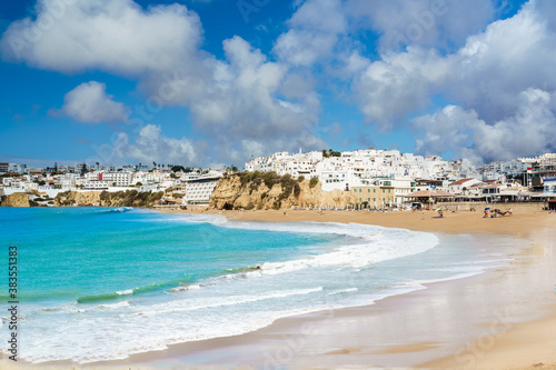 Wall mural Landscape with old town Albufeira and sandy city beaches in Algarve, Portugal