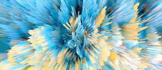 Digital 3D Illustration. Color blot splash. Abstract long horizontal background.