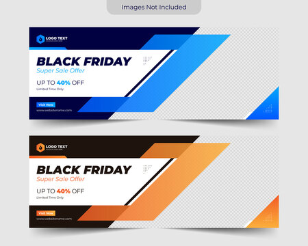 Black friday facebook banner template design, Template banner and cover ads can use for social media,