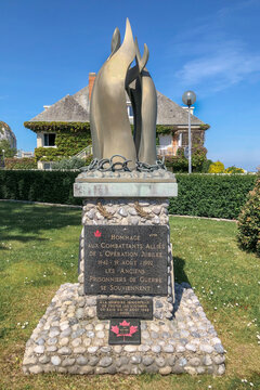 DIEPPE, FRANCE - MAY 17, 2020: Tribute to the winged combatants of the jubilee operation 1942-19 August 1992 Former war prisoners remember
