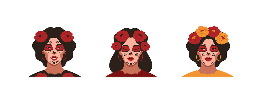Mexican young women with sugar skull makeup for the Day of the Dead. Female festive portraits with flowers for Dia de Los Muertos. Vector illustration isolated from white