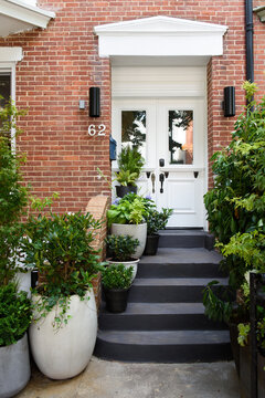 Stylish planted brownstone apartment building entrance