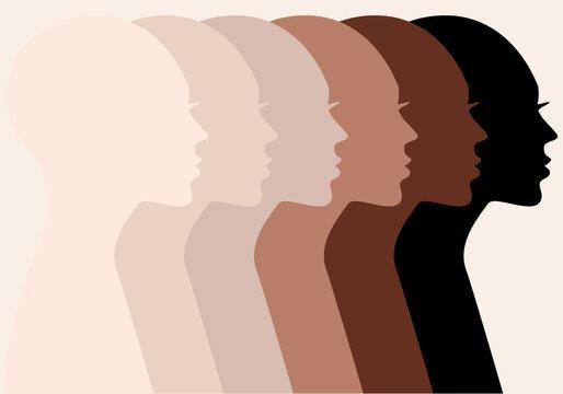 Female profile silhouettes, skin colors, vector