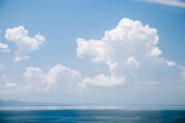Wall Mural - Perfect moment of the azure sky on a sunny day with clouds.